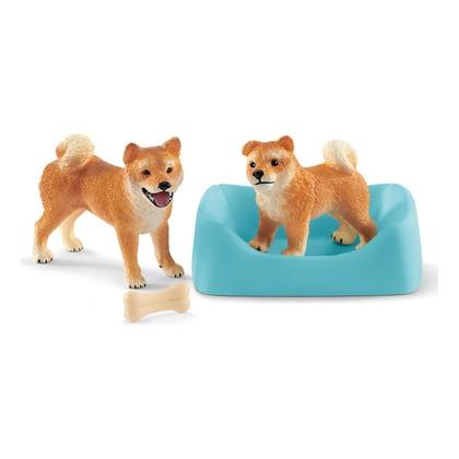 Собака и щенок породы сиба-ину